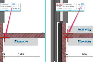 """Das Daikin-Ribbon enthält mehrere neue Funktionen: Der 'Spiegel'-Befehl in der Version von Daikin verspricht verbesserte Kontrolle: Anders als beim ursprünglichen """"Revit""""-Befehl verzichtet er auf das geometrische Spiegeln der Objekte. So wird ein linksseitiger Anschluss auch nach Ausführung des 'Spiegel'-Befehls linksseitig dargestellt, wodurch Verwirrungen im resultierenden Plan vermieden werden."""