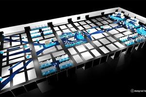 """<div class=""""bildtext"""">Die Hallenplanung erinnert an eine digitale Datenautobahn.</div>"""