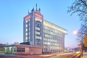 """<div class=""""bildtext"""">Das achtgeschossige Montagehochhaus von Kathrein in Rosenheim ist heute die eindrucksvolle Zentrale des Unternehmens.</div>"""