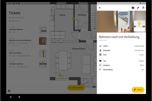 """<div class=""""bildtext"""">Auf dem Tablet dargestelltes Ticket mit Foto und Verortung auf dem Plan</div>"""