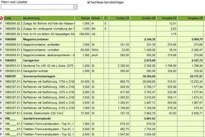 """<div class=""""bildtext"""">Kostenauswertung nach Vergabeeinheiten in """"Avanti"""" für das Projekt Fachakademie</div>"""