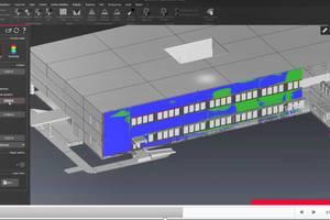 """<div class=""""bildtext"""">Mithilfe der Leica-""""Cyclone 3DR""""-Software lassen sich 3D-Modelle gegen Punktwolken abgleichen. Hier wird anhand einer IFC-Datei überprüft, wie eine geplante Fassade gegen die tatsächlich gebaute abweicht.</div>"""